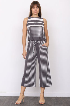 Charcoal Multi Stripe Sleeveless Cropped Jumpsuit