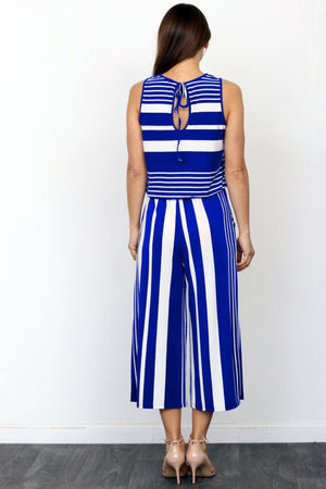 Royal Blue Multi Stripe Sleeveless Cropped Jumpsuit