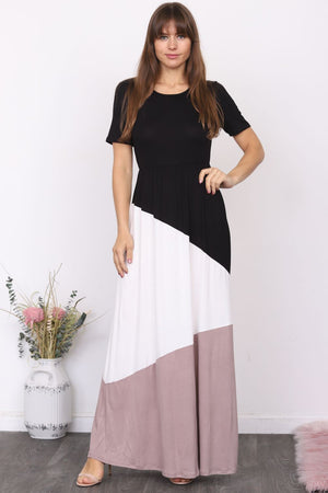 Black & Mocha Color-Block Short Sleeve Maxi Dress