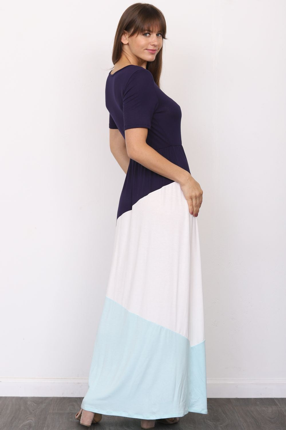 Navy & Mint Color-Block Short Sleeve Maxi Dress