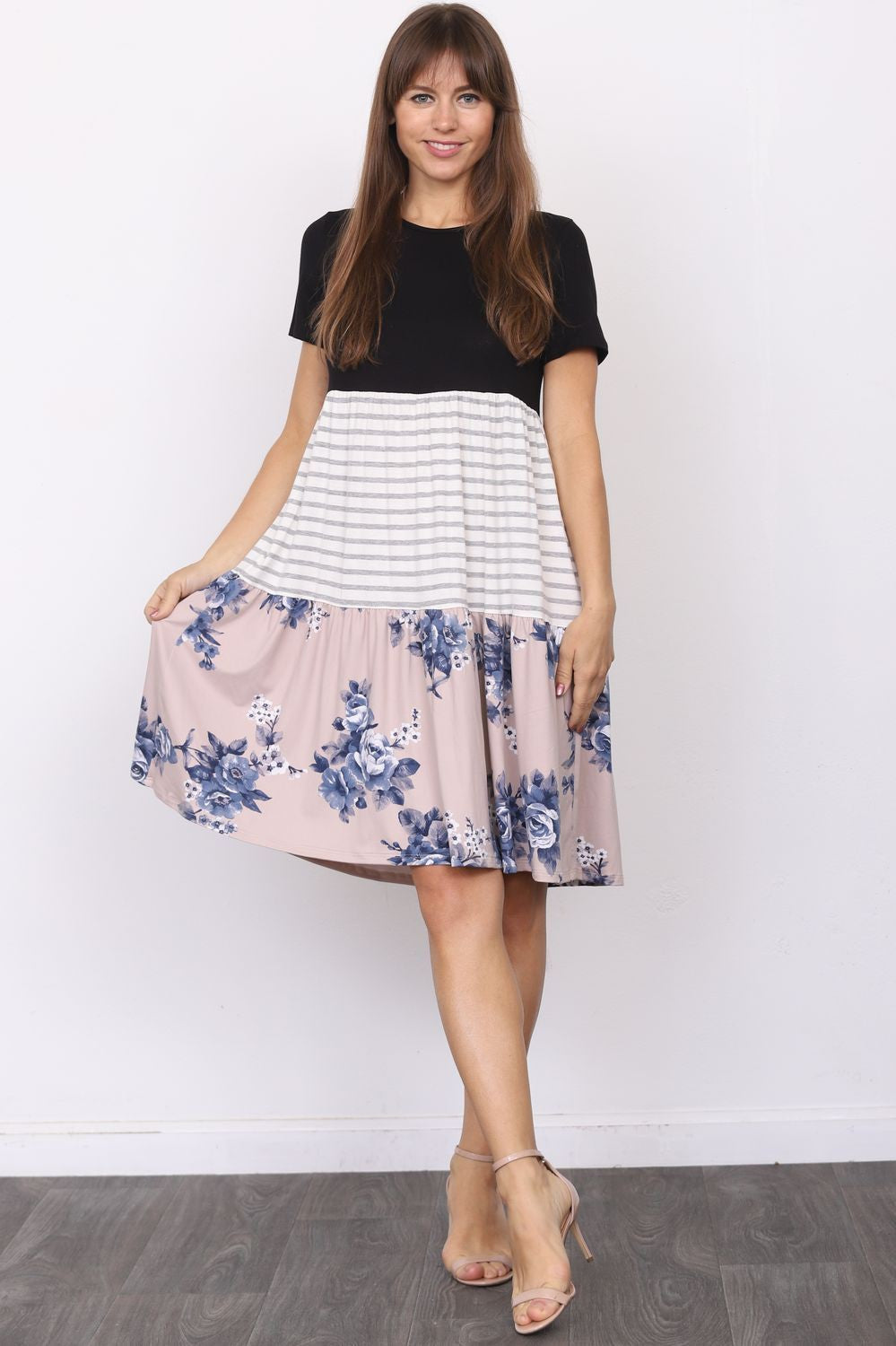 Short Sleeve Black Mocha Floral Tiered Dress_Plus