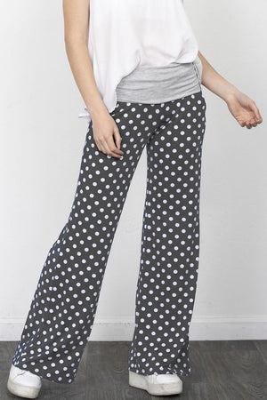 Charcoal Polka Dot Fold-Over Lounge Pants