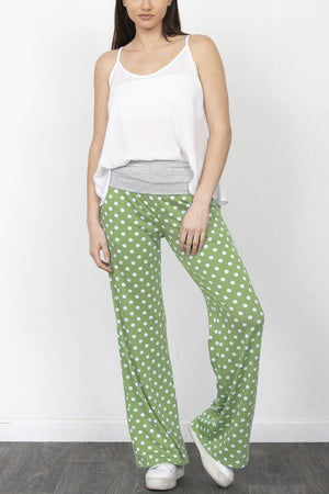 Sage Polka Dot Fold-Over Lounge Pants