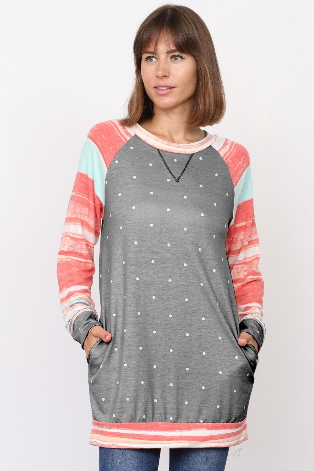 Charcoal Polka Dot Coral Stripe Raglan Sleeve Tunic_Plus