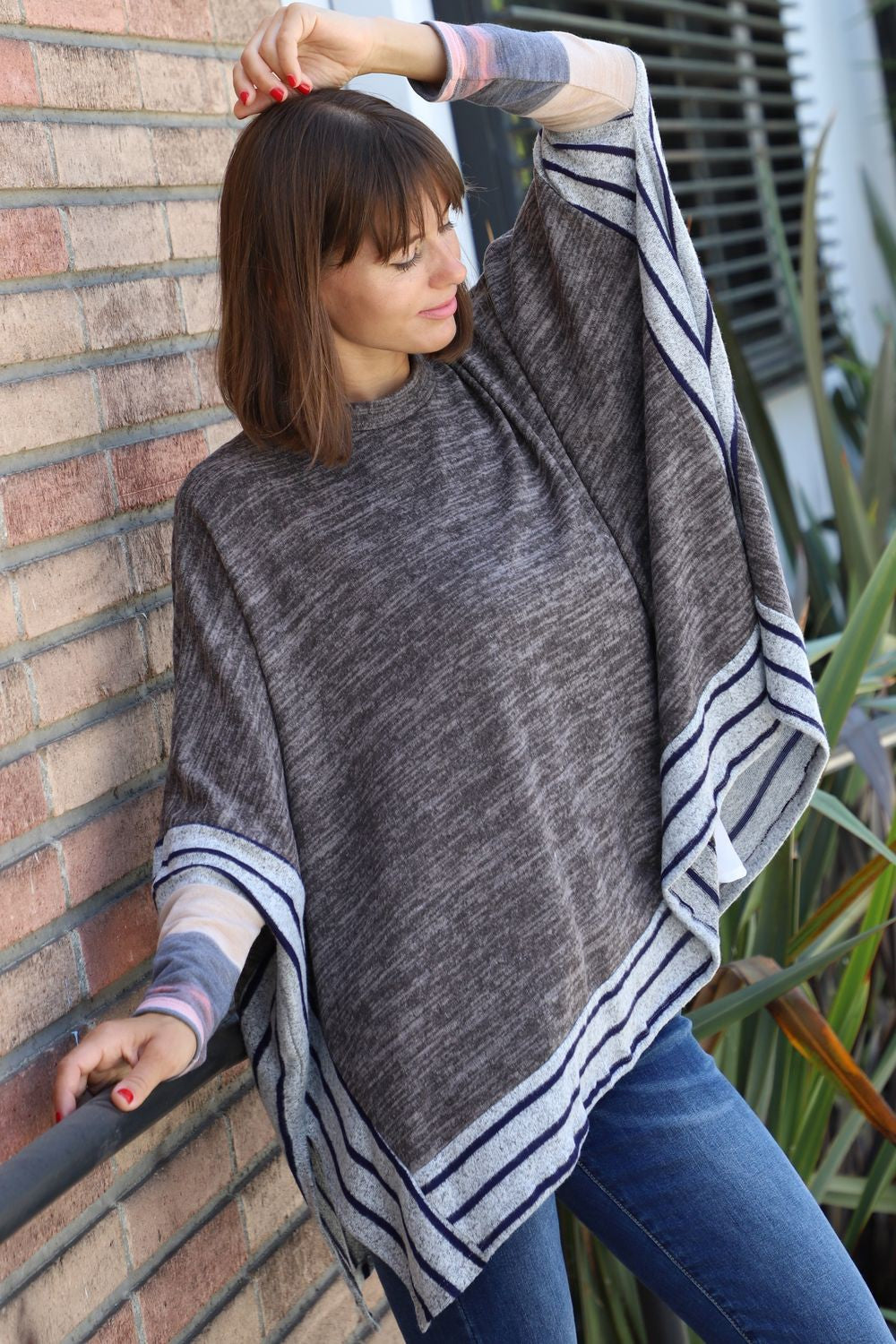 Mocha Brushed Soft Cape Style Poncho Tunic with Stripe Trim Tie-Dye Accent
