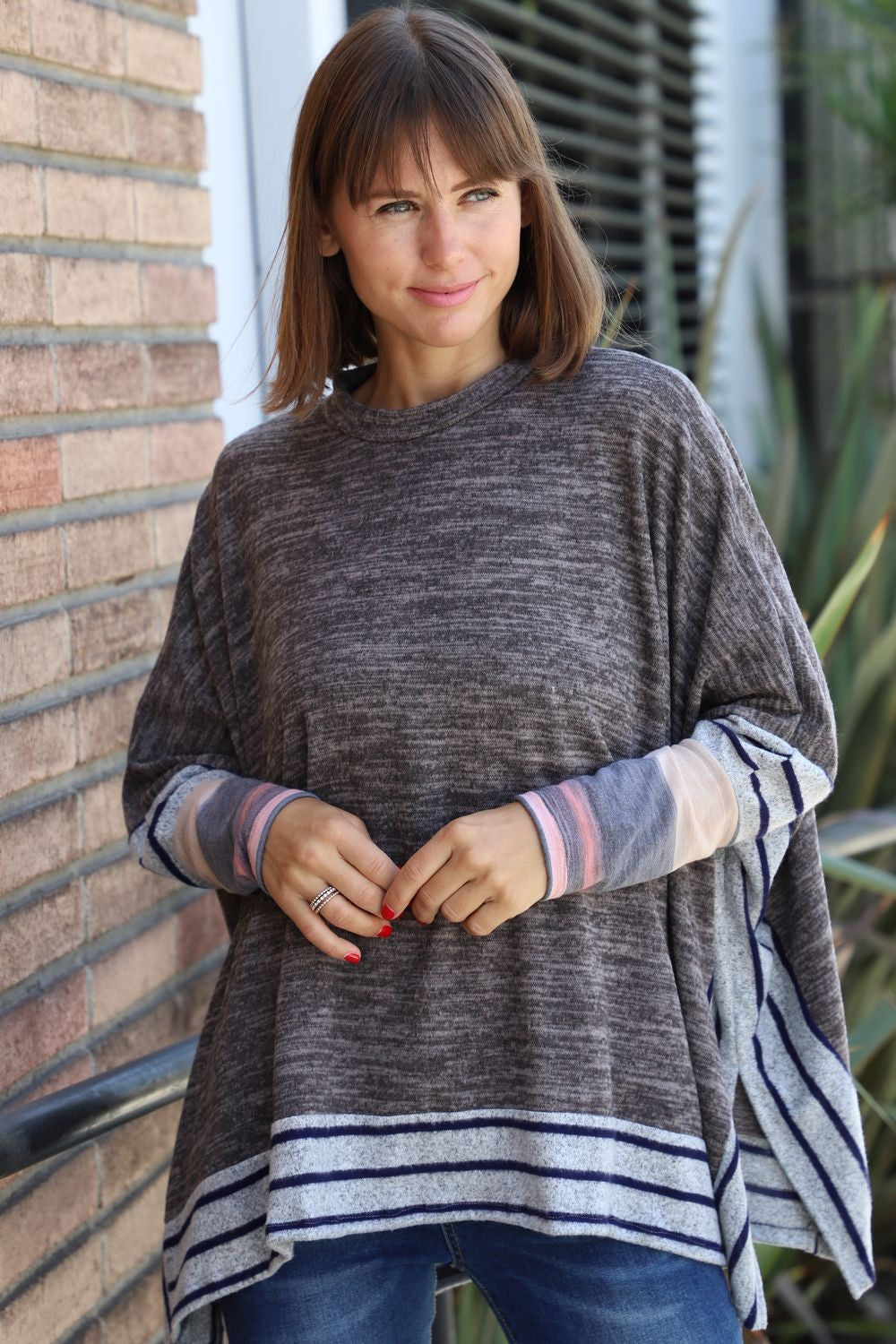 Mocha Brushed Soft Cape Style Poncho Tunic with Stripe Trim Tie-Dye Accent_Plus