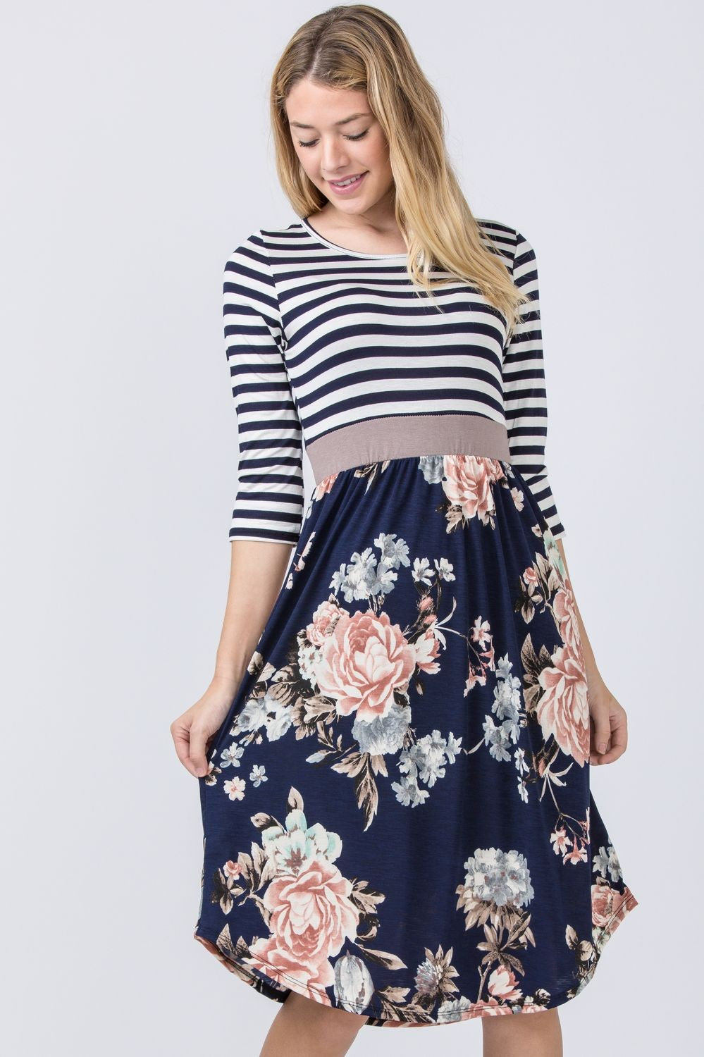 Stripe Navy Floral Curved Hem Midi Dress with Mocha Band_Plus