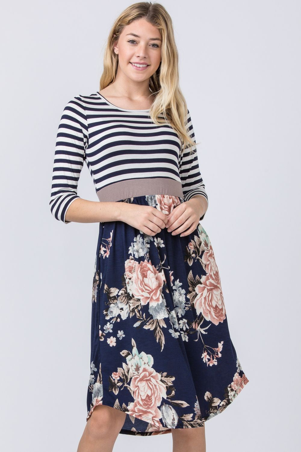 Stripe Navy Floral Curved Hem Midi Dress with Mocha Band