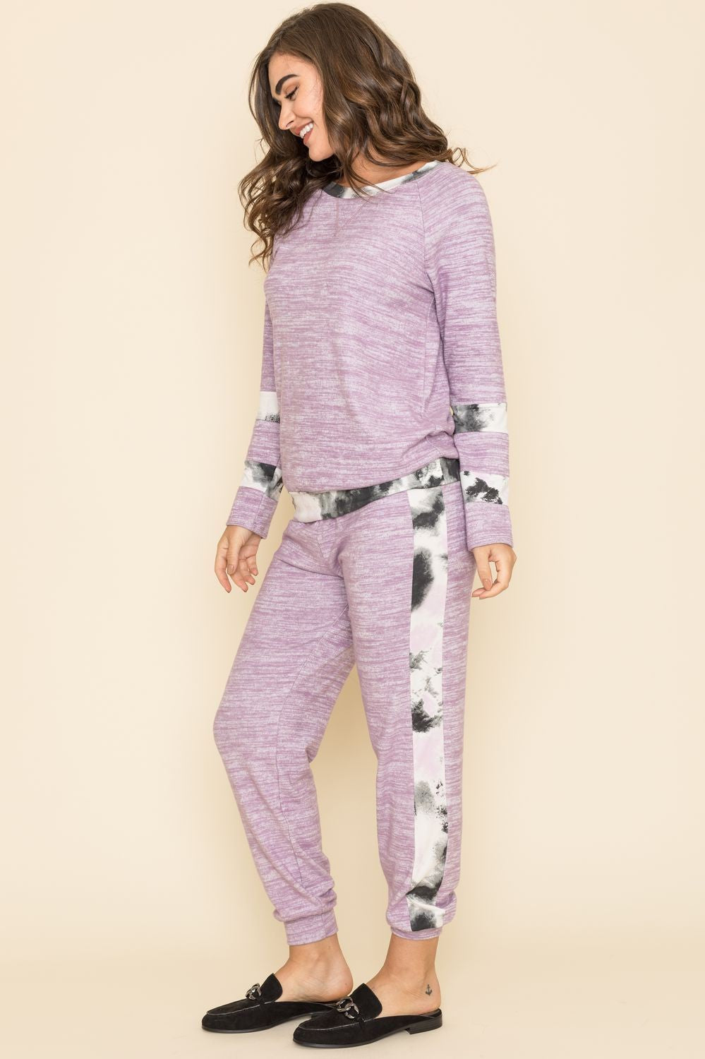 Lilac Tie Dye Stripe Accent Top & Jogger Set_Plus