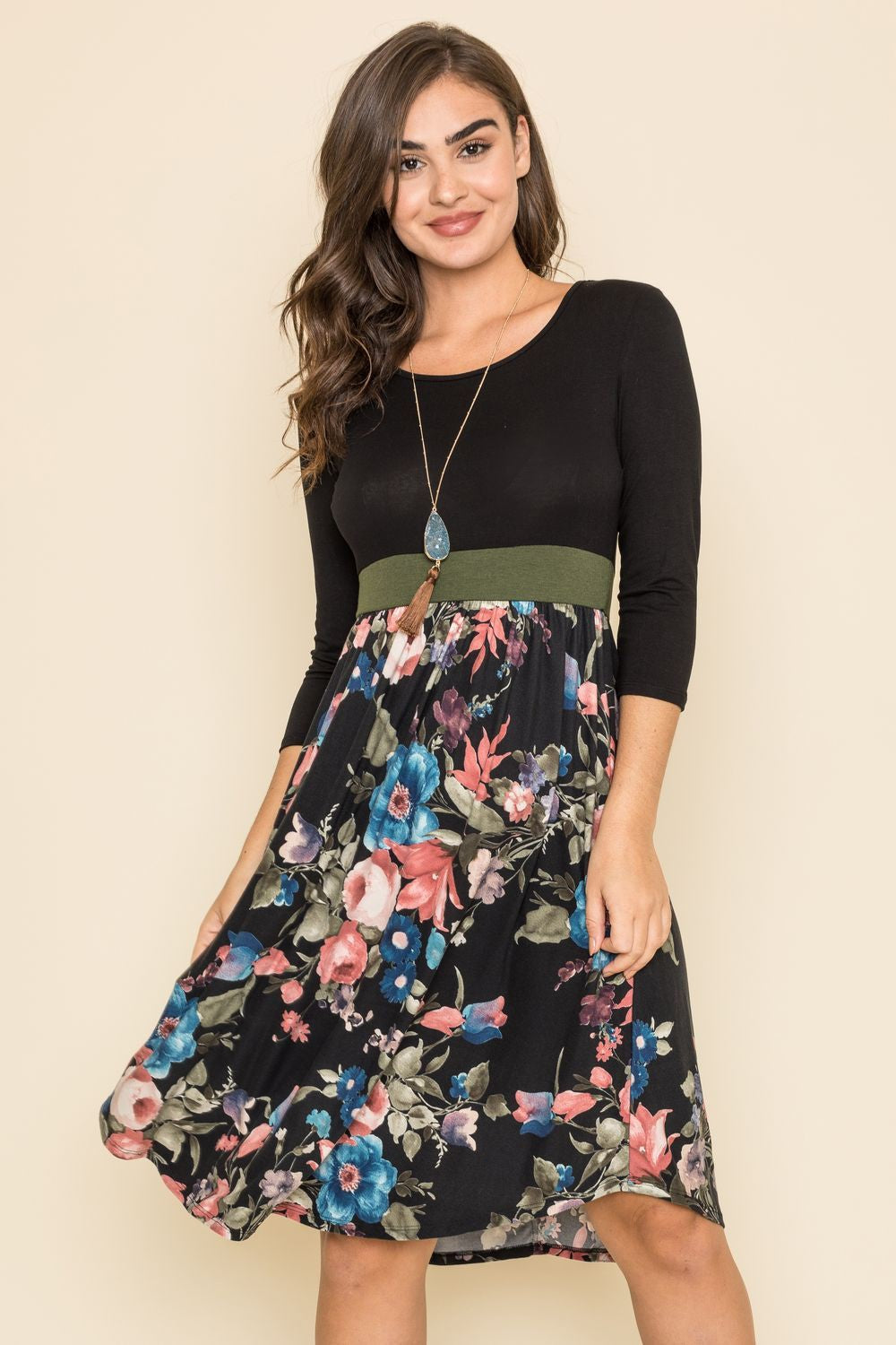 3/4 Sleeve Black Floral Olive Band Curved Hem Midi Dress