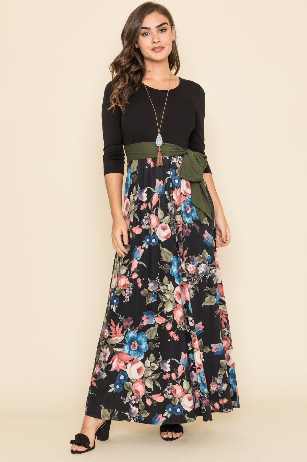 Black Floral Olive Sash Maxi Dress