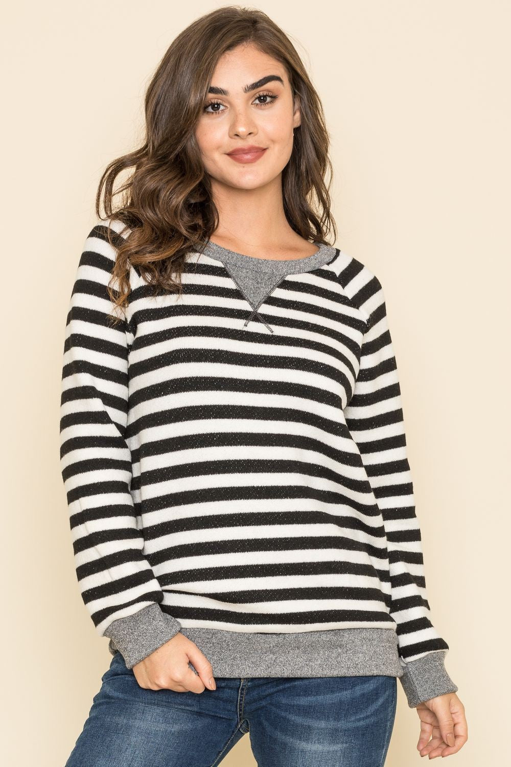 Wide Black Stripe Cozy Knit Top