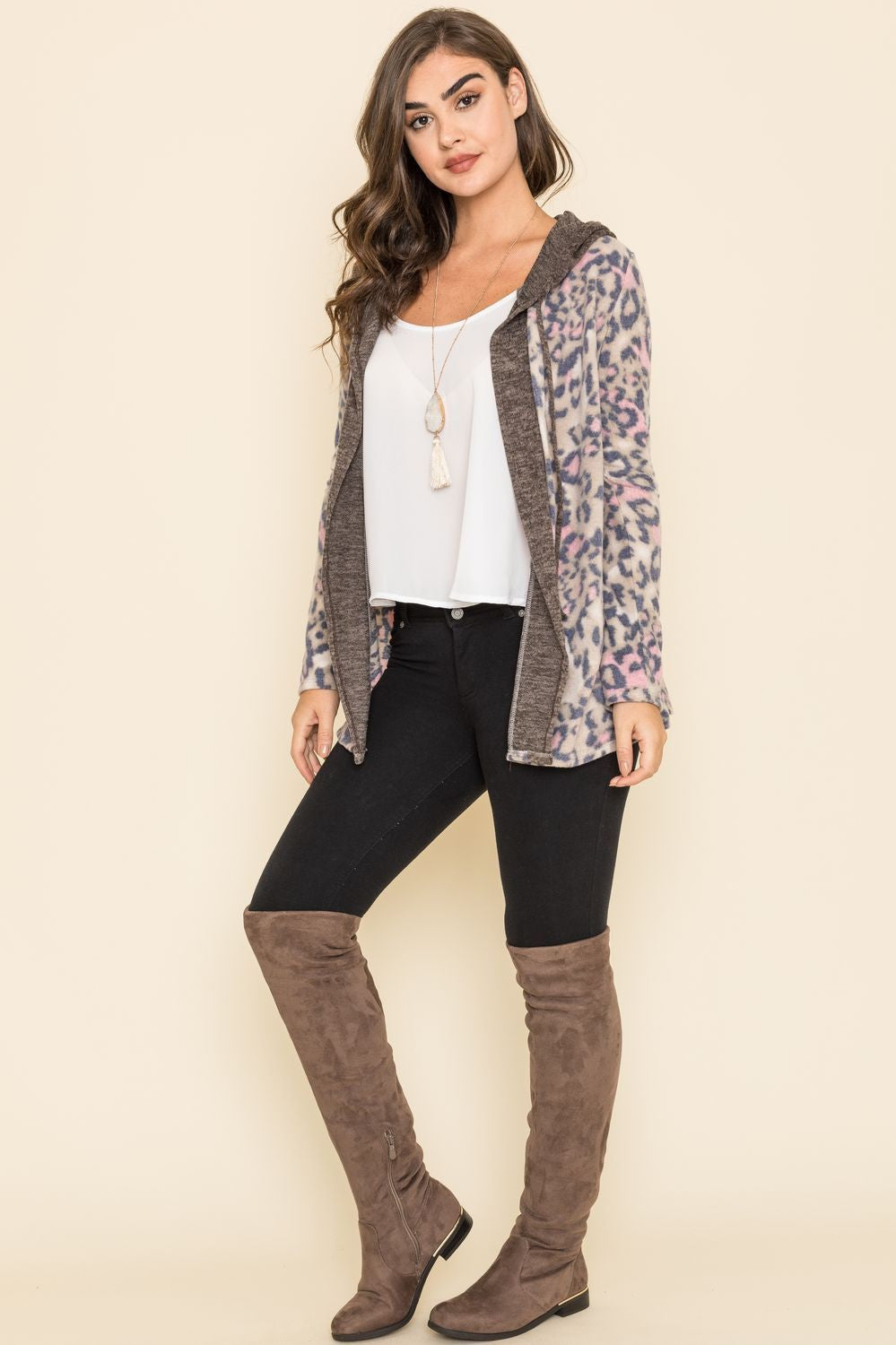 Pink Animal Print Mocha Trim Hooded Cardigan_Plus