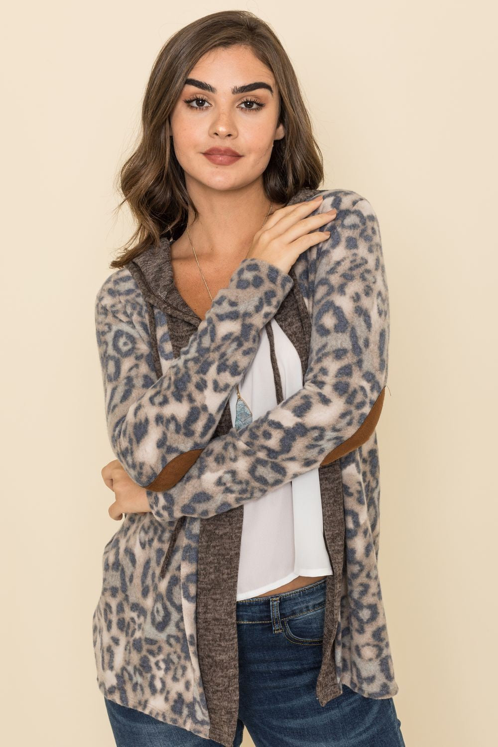 Blue Animal Print Mocha Trim Hooded Cardigan_Plus