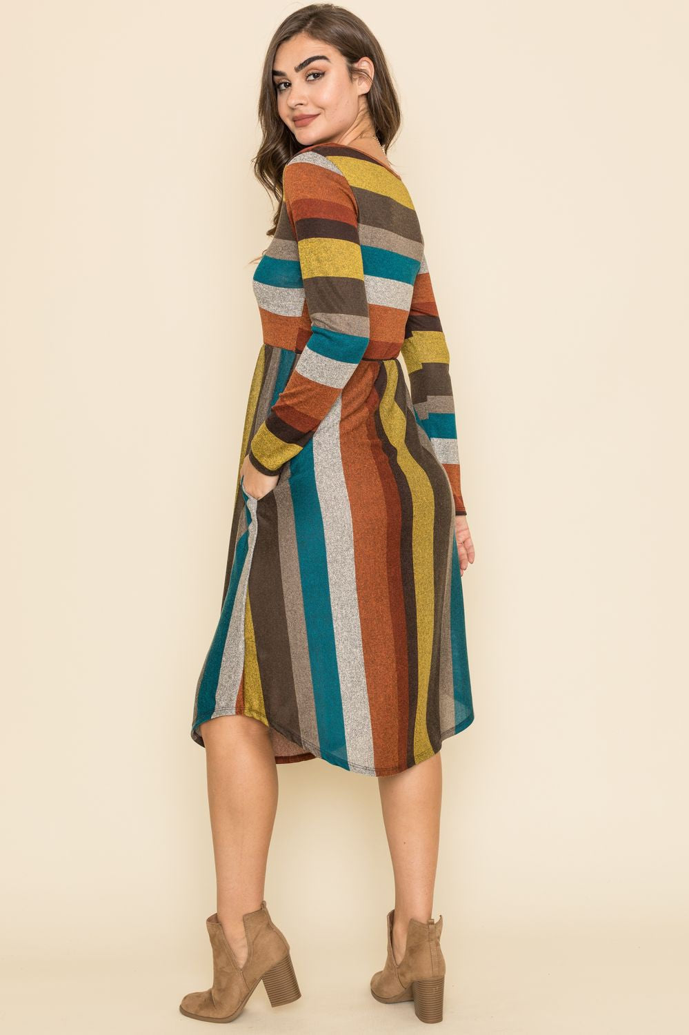 Mustard & Burgundy Multi Stripe Midi Dress_Plus