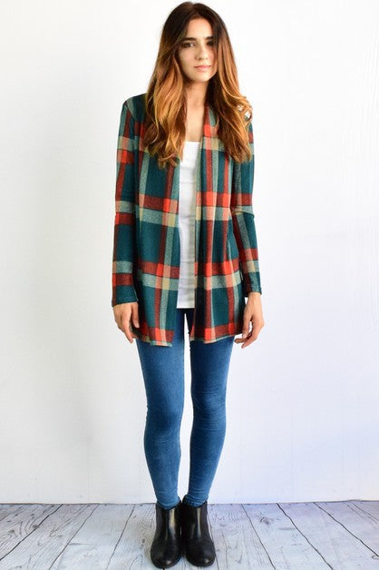 Green & Red Plaid Elbow Patch Cardigan_Plus