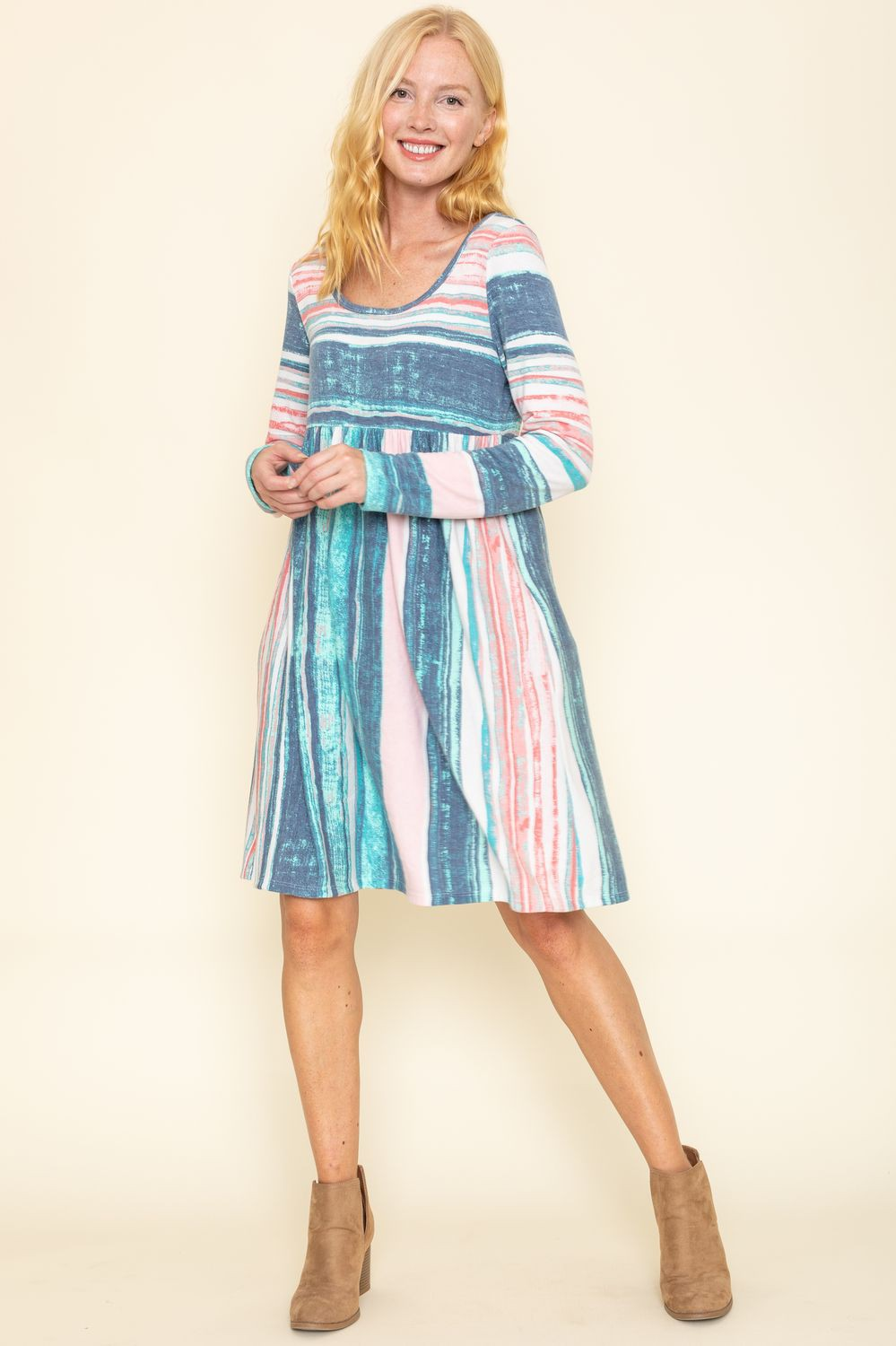 Aqua Multi Stripe Empire Waist Midi Dress_Plus