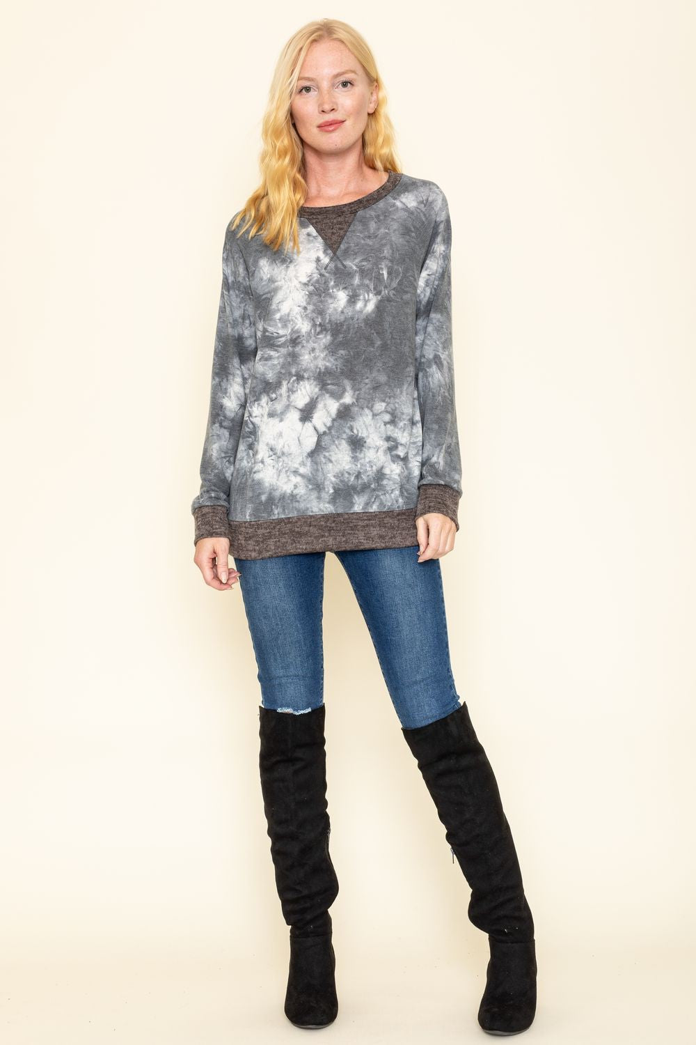 Charcoal Marble Tie Dye Mocha Trim Long Sleeve Top_Plus
