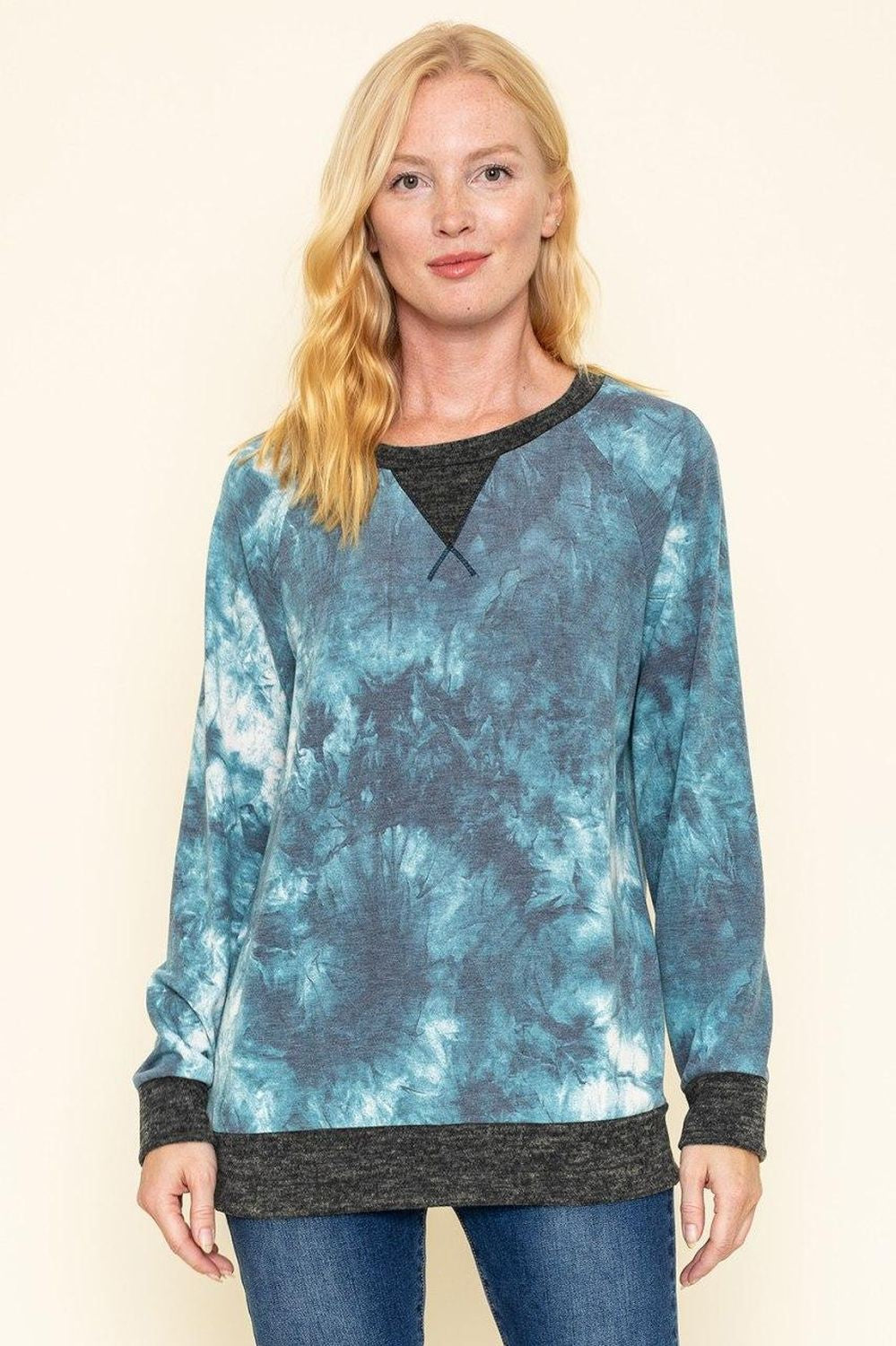 Aqua Tie Dye Charcoal Trim Long Sleeve Top