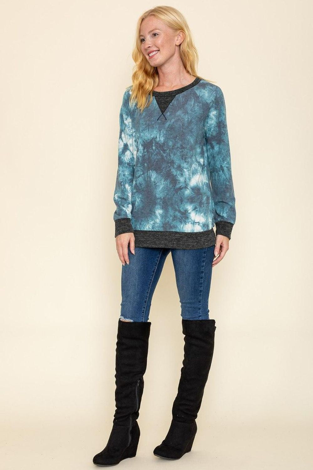Aqua Tie Dye Charcoal Trim Long Sleeve Top_Plus