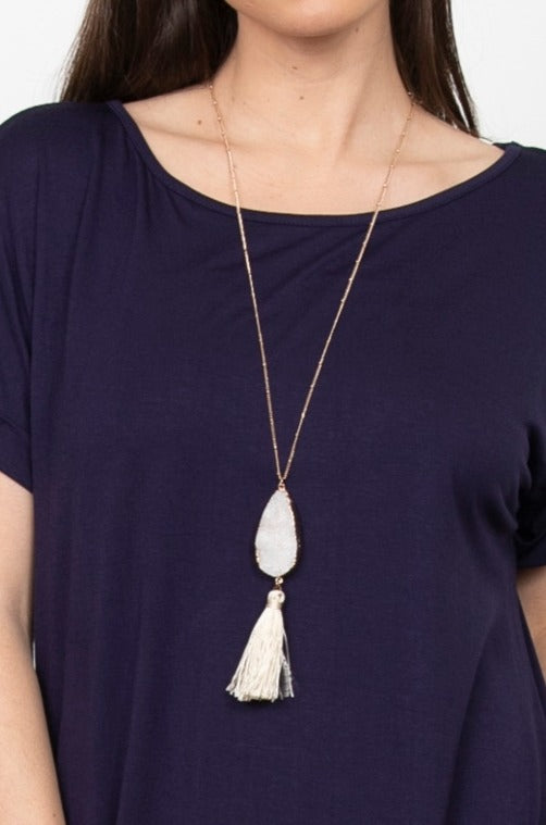 White Druzy Necklace with Tassel