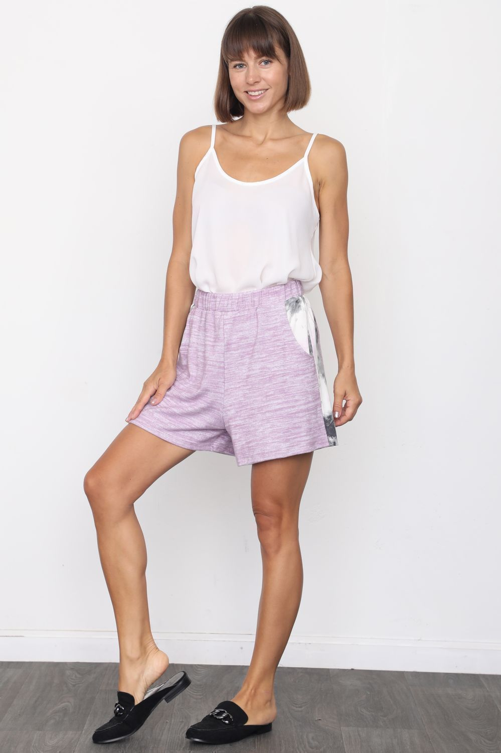 Lilac Tie Dye Side Stripe Shorts_Plus