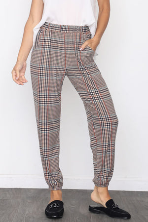 Classic Taupe Plaid Jogger Pants