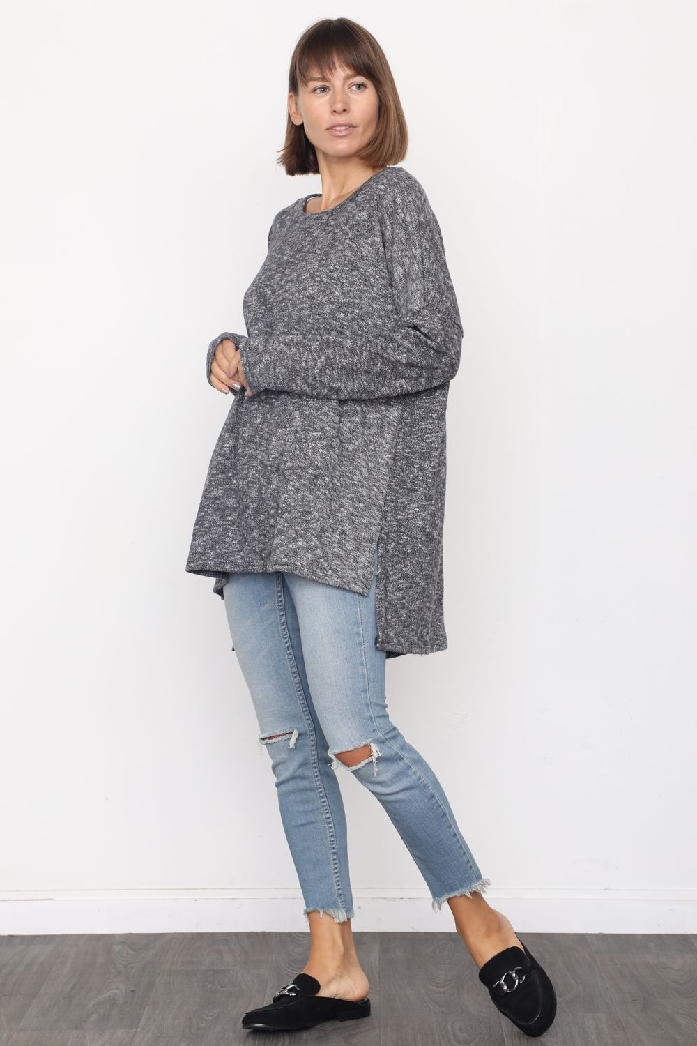 Charcoal High Low Knit Tunic_Plus