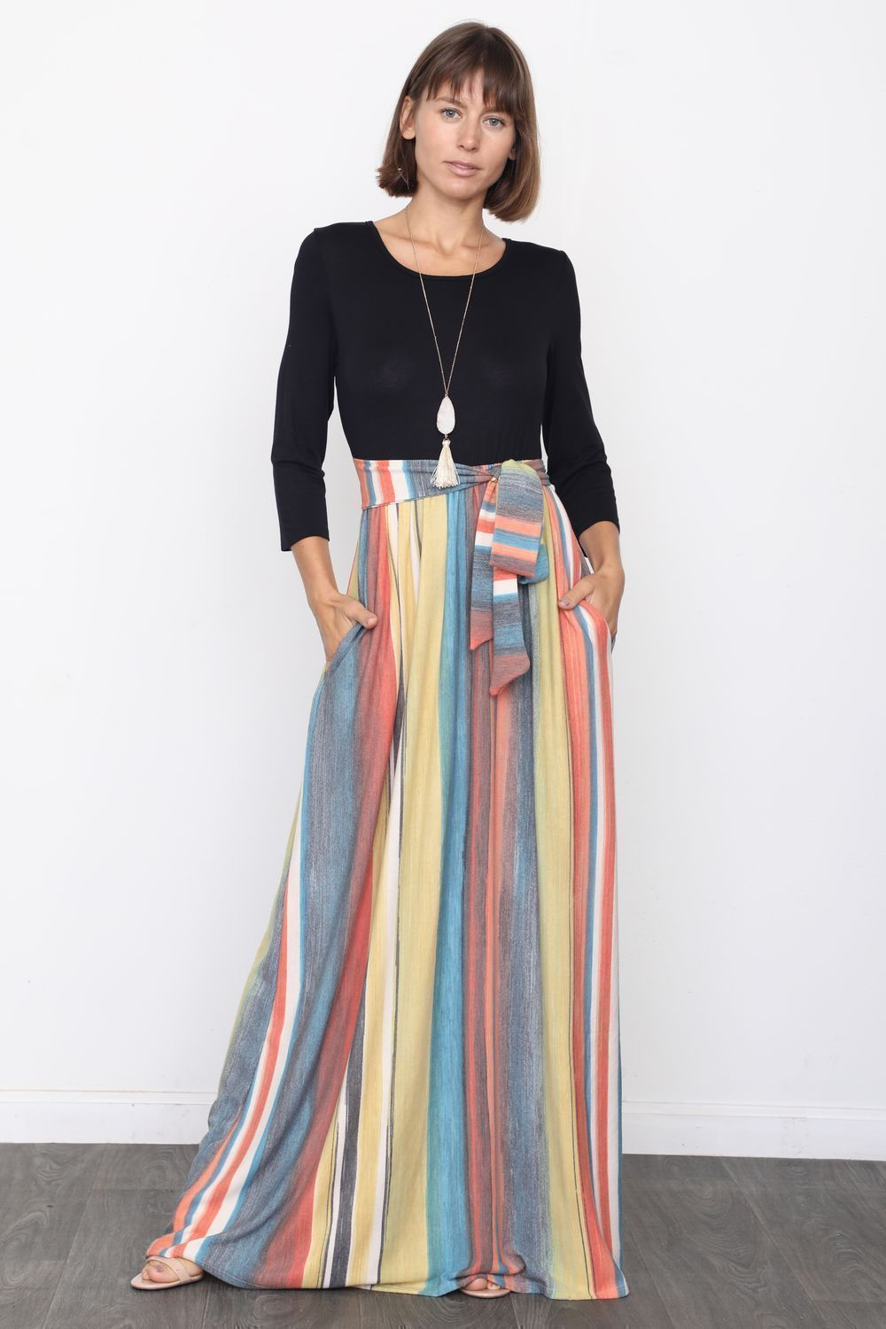 Orange & Teal Multi Color Sash Maxi Dress