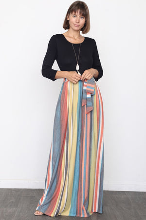 Orange & Teal Multi Color Sash Maxi Dress_Plus