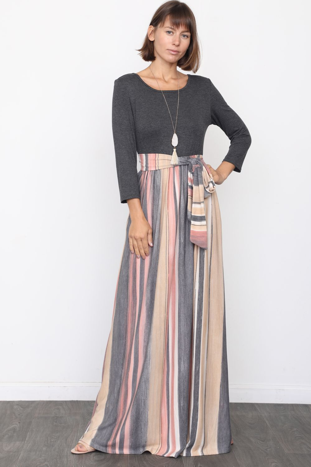 Charcoal & Pink Multi Color Sash Maxi Dress