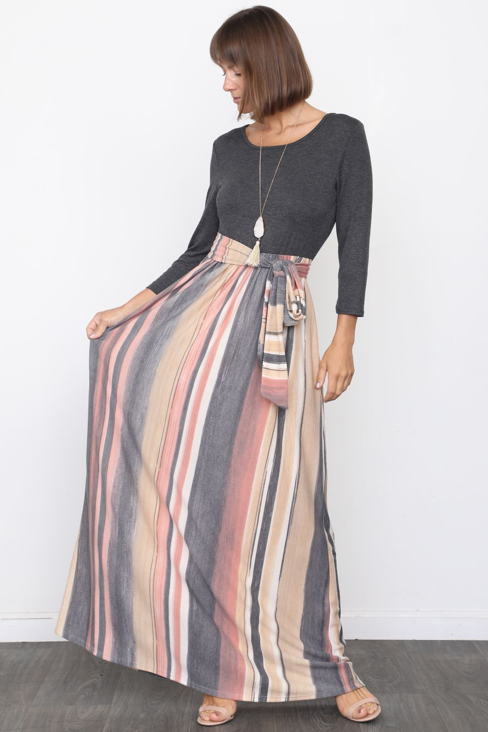 Charcoal & Pink Multi Color Sash Maxi Dress_Plus