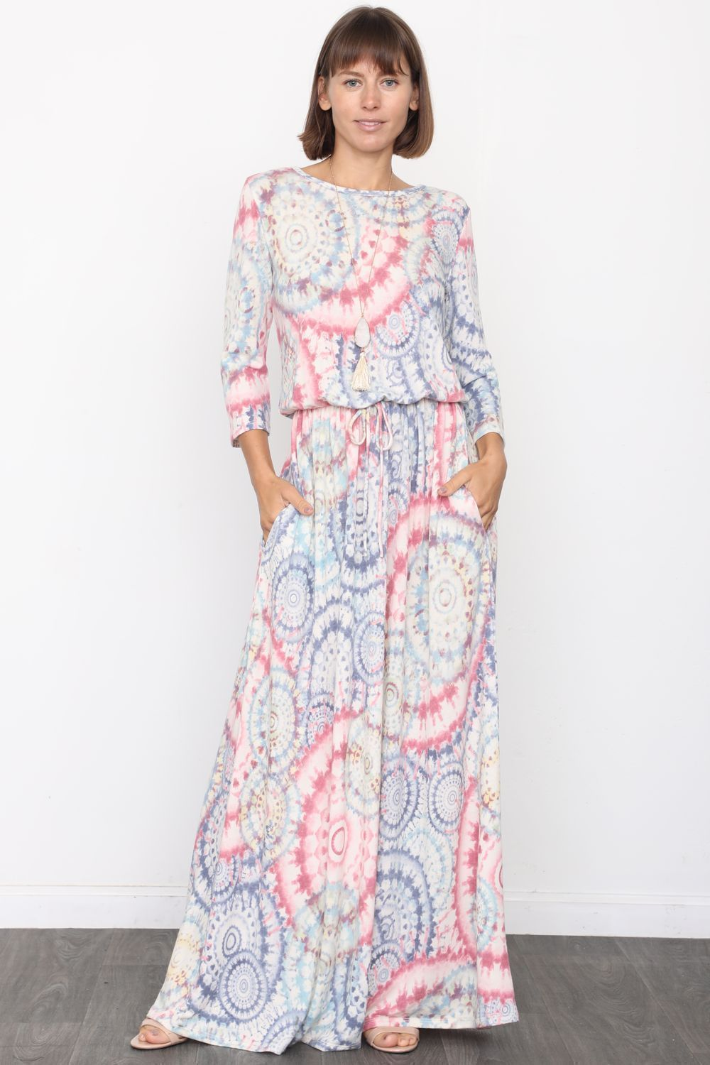 Medallion Tie Dye 3/4 Sleeve Blouson Maxi Dress