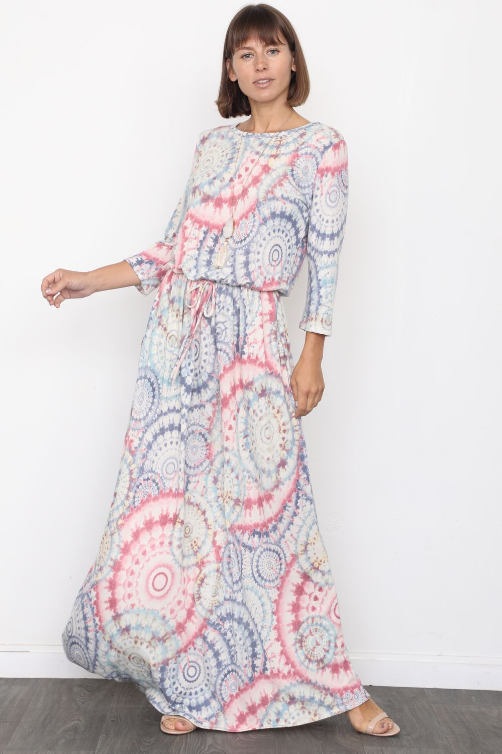 Medallion Tie Dye 3/4 Sleeve Blouson Maxi Dress_Plus