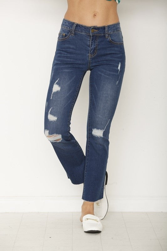 Mid High Waist Semi Ankle Boot Cut Jean