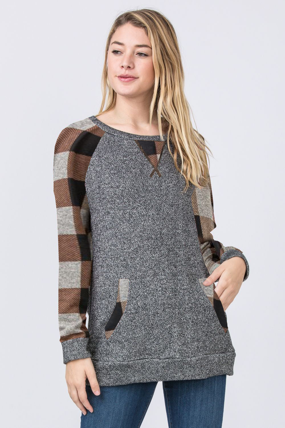 Brown Checkered Accent Raglan Sleeve Tunic with Kangaroo Pocket