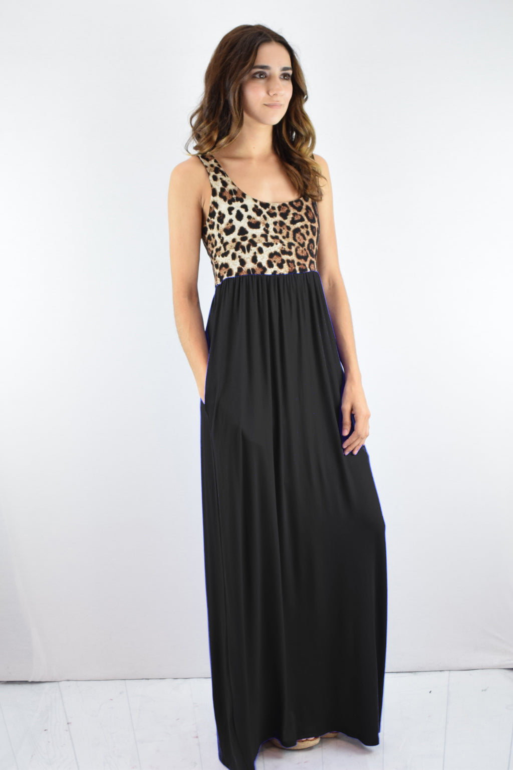 Leopard & Solid Black Sleeveless Maxi Dress