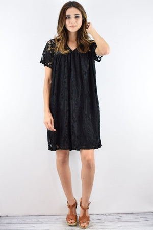 Black Lace V-Neck Short Sleeve Dress