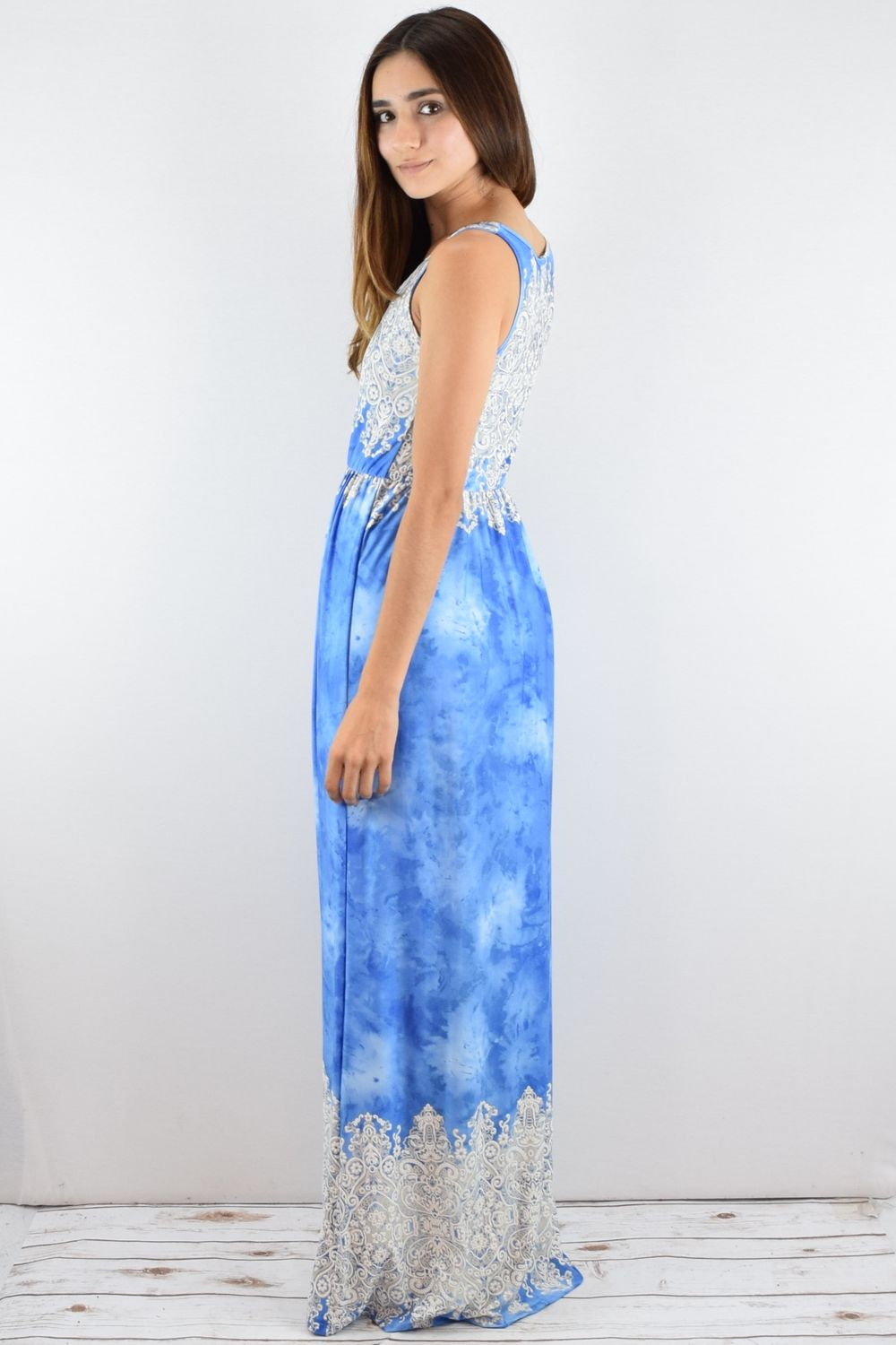 Blue Embroidered Tie Dye Maxi Dress