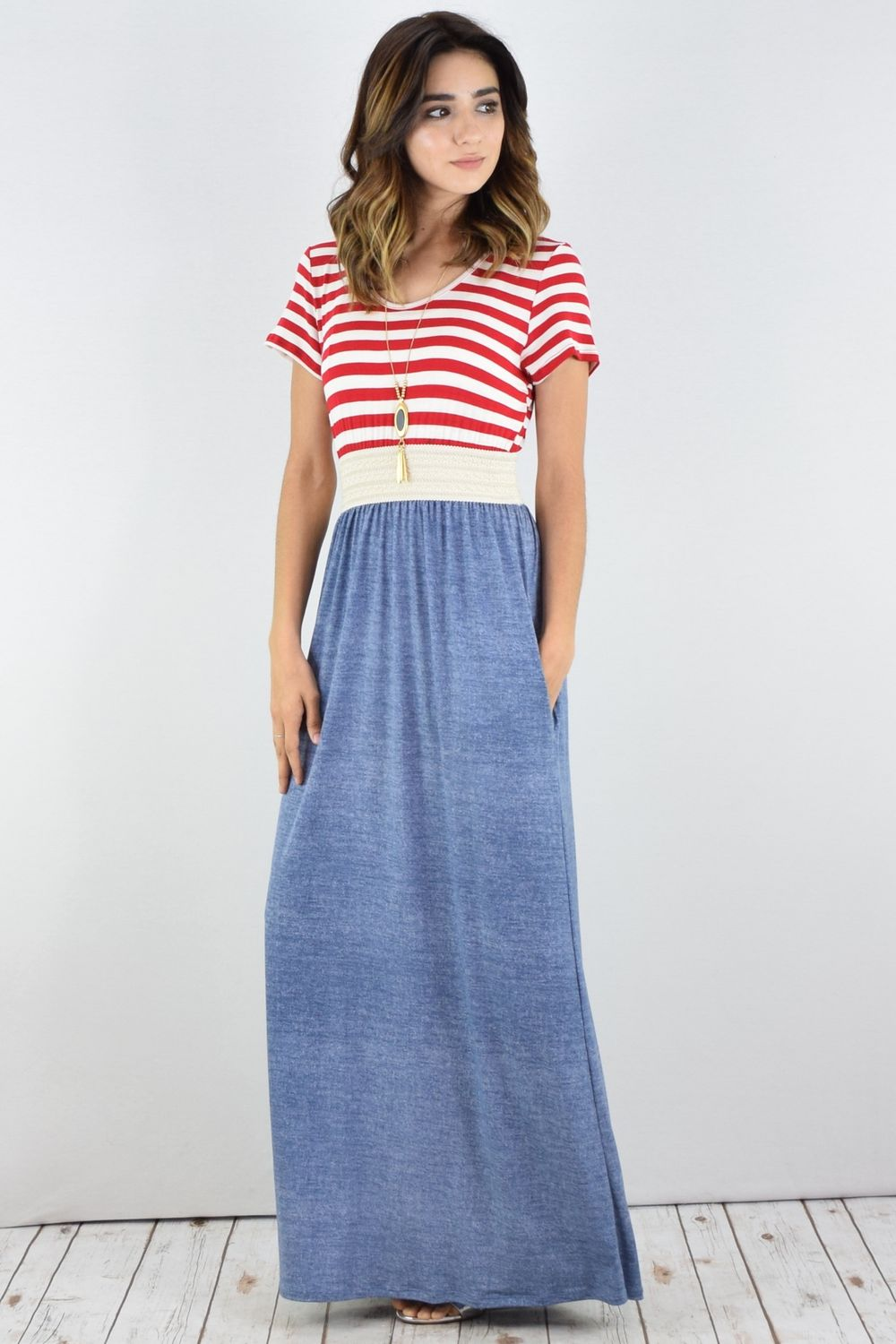 Red Stripe Crochet Band Chambray Maxi Dress