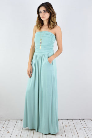Solid Mint Tube Top Maxi Dress