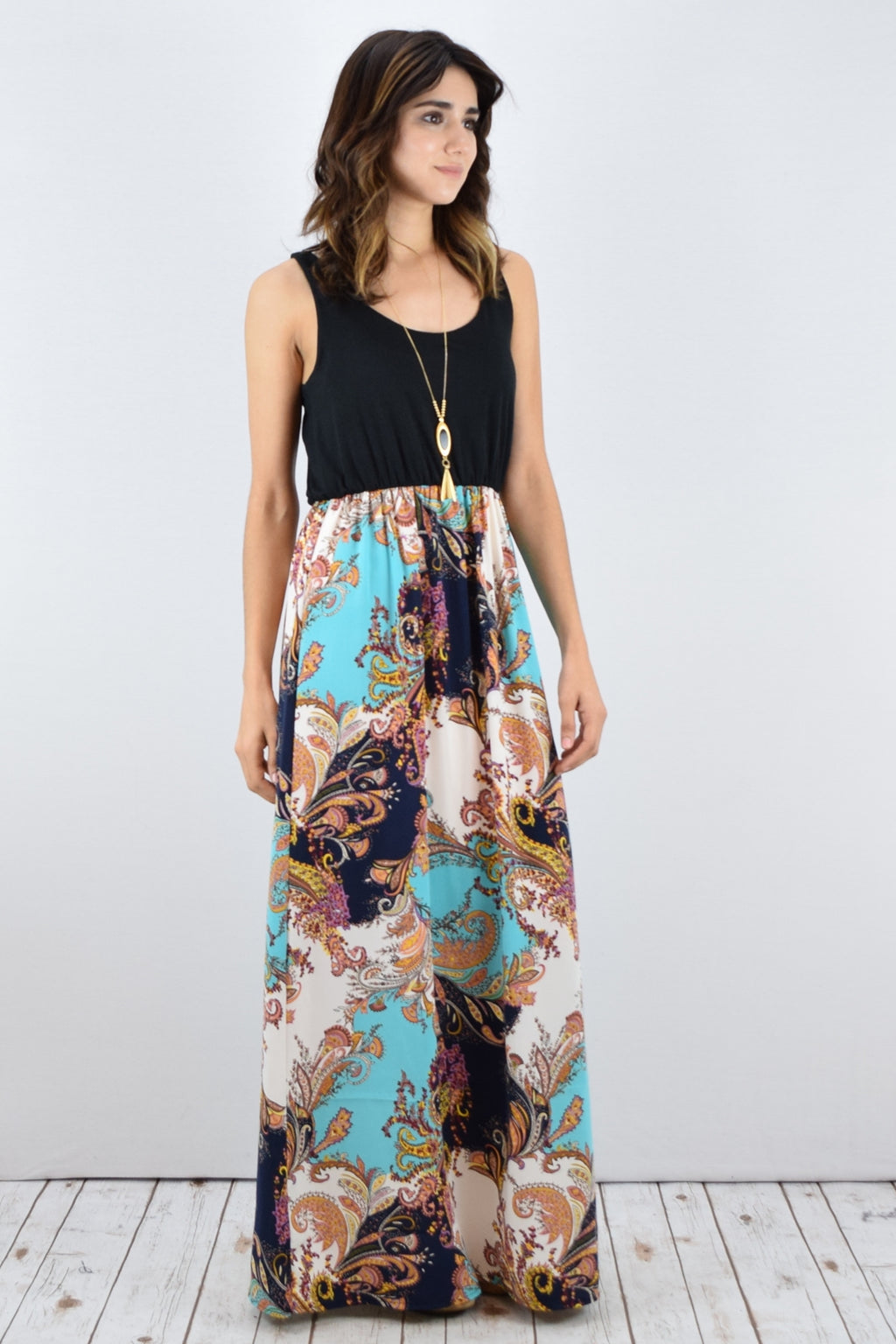 Black Sleeveless Mint & Navy Paisley Maxi Dress