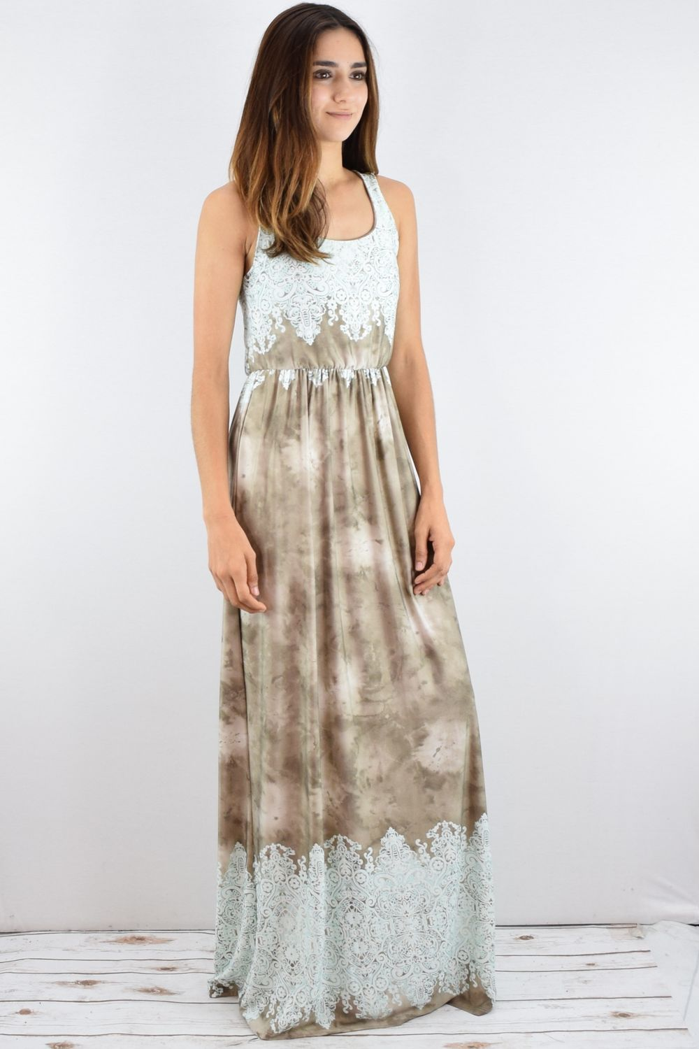 Beige Embroidered Tie Dye Maxi Dress