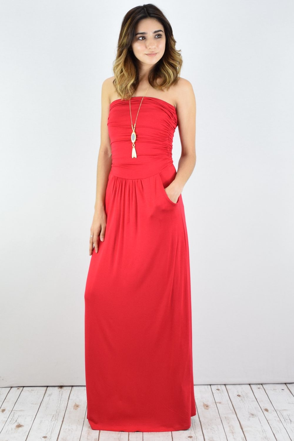 Solid Coral Tube Top Maxi Dress