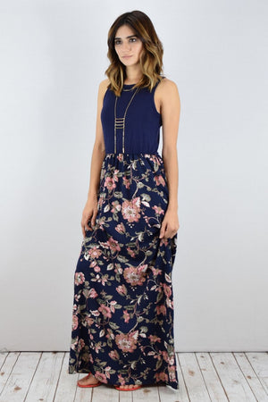 Solid Navy Sleeveless Floral Maxi Dress