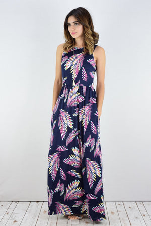 Navy Purple Wings Sleeveless Maxi Dress