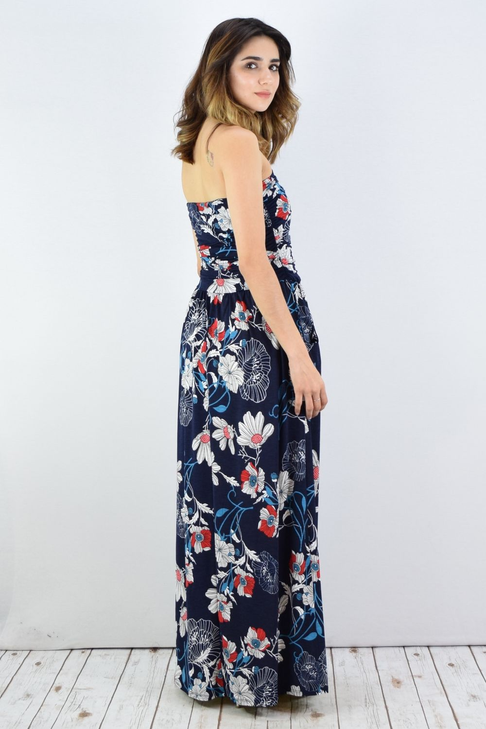 Navy & White Floral Tube Top Maxi Dress