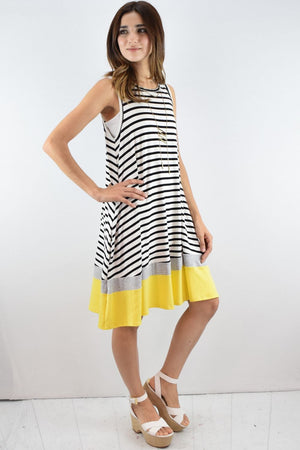 Stripe Yellow Hem Sleeveless Swing Dress