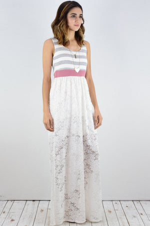 Grey Stripe White Lace Maxi Dress