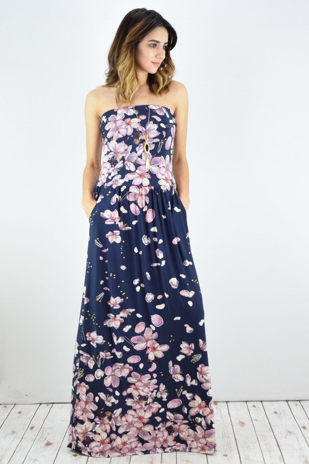 Navy Cherry Blossom Tube Top Maxi Dress